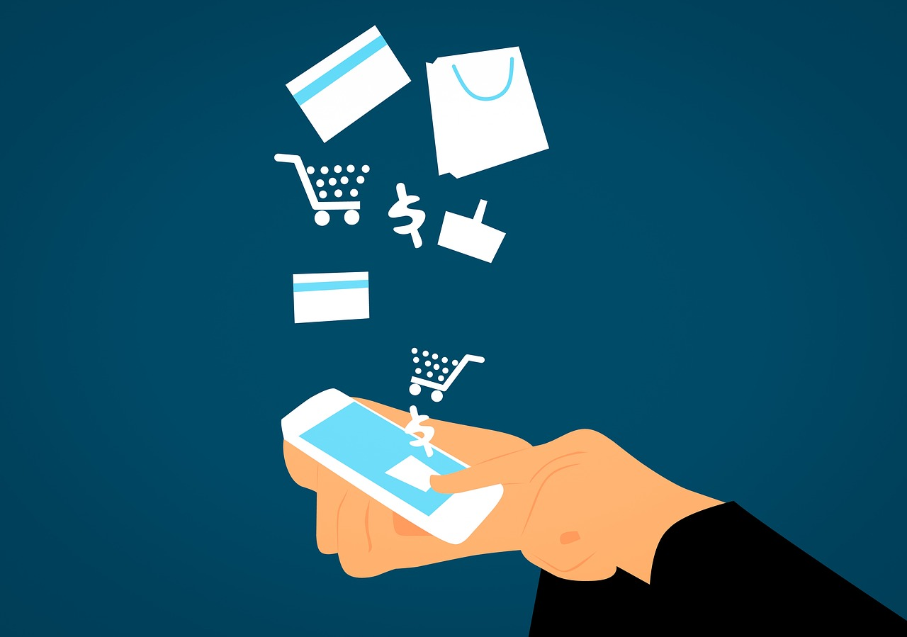 Graphic with cell phone showing e-commerce symbols - chopping cart, credit card, shopping bag, etc.